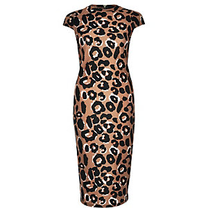 Brown leopard print bodycon dress