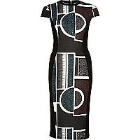 Black abstract print bodycon midi dress