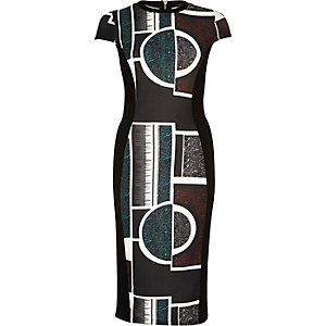 Black abstract print bodycon midi dress
