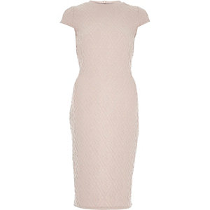 Light pink textured bodycon dress