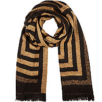 Black stripe blanket scarf