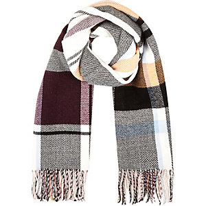Burgundy check tasselled blanket scarf
