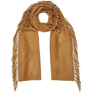 Beige tassel side scarf