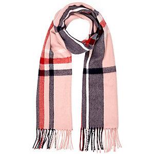 Pink tartan tassel scarf