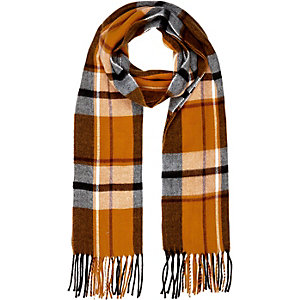 Orange plaid tassel scarf