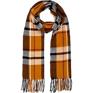 Orange plaid tassel scarf