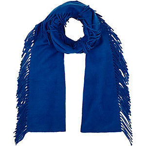 Blue tassel side scarf