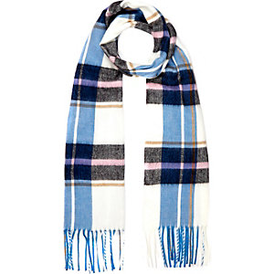 Blue check tassel scarf