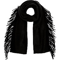 Black tassel side scarf