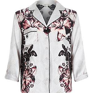 Beige floral print pyjama shirt