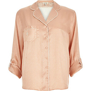 Pink embroidered jacquard pajama top