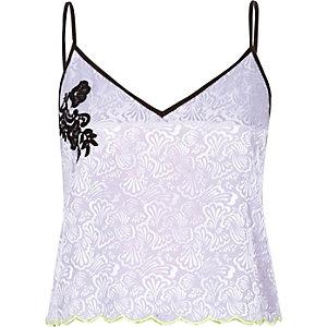 Purple lace jacquard cami pyjama top