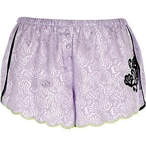Purple jacquard lace pyjama shorts