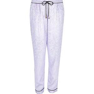 Purple lace jacquard pyjama trousers