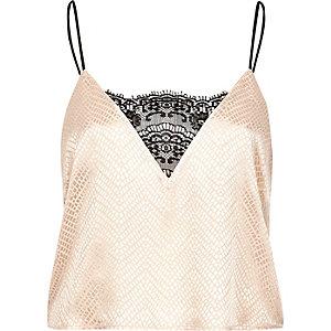 Cream jacquard lace pyjama cami top