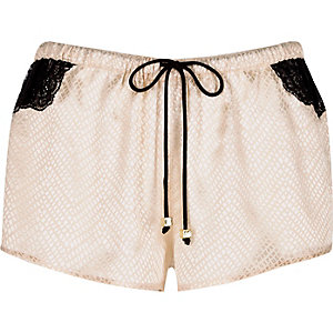Cream jacquard lace pyjama shorts
