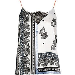 Light blue print cami pajama top