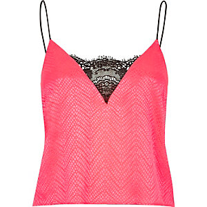 Bright coral lace cami pyjama top