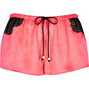 Bright coral jacquard lace pyjama shorts