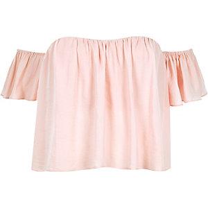 Pink short sleeve bardot top