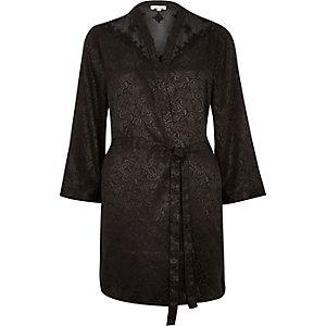 Black jacquard belted robe