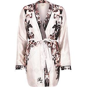 Beige floral print robe