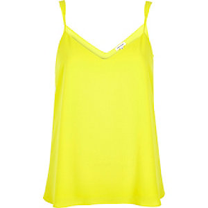 Bright yellow V-neck cami top