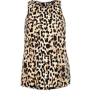 Brown leopard print vest