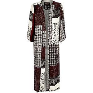 Red patchwork lightweight kimono