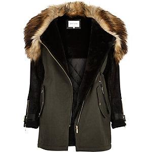 Khaki faux-fur trim parka winter coat
