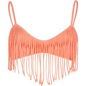 Coral fringed push-up cami bikini top