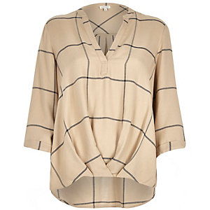 Beige check wrap front V-neck shirt