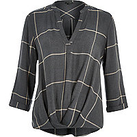 Dark grey check wrap front V-neck shirt