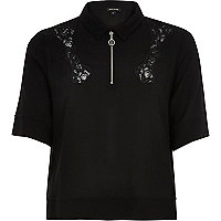 Black lace insert zip neck blouse