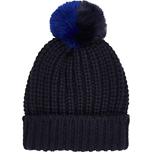 Navy knitted pom pom beanie hat