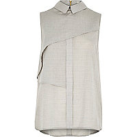 Grey pleat layer sleeveless shell shirt