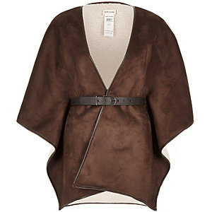 Dark brown belted shearling jacket