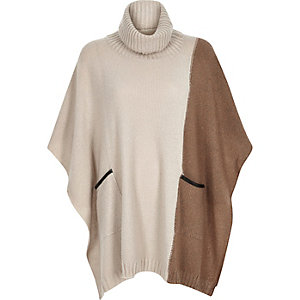Beige knitted roll neck poncho