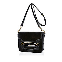 Black leather saddle front cross body handbag