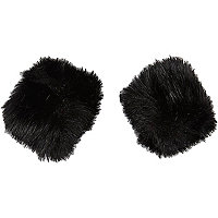 Black faux fur snap on cuffs
