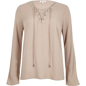 Beige lace up eyelet long sleeve top
