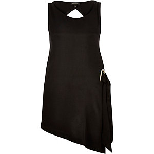 Black asymmetric side tie tunic