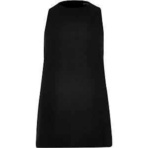 Black high neck sleeveless top