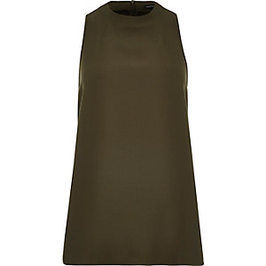 Khaki high neck sleeveless top