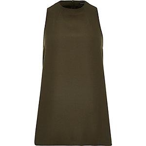 Khaki high neck sleeveless top