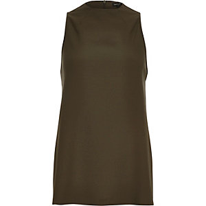 Khaki high neck tank top