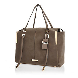 Dark brown structured faux suede handbag