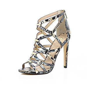 Grey snake print caged heels
