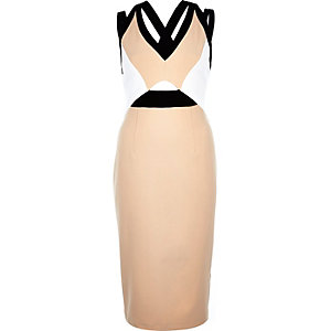 Nude cut out bodycon pencil dress