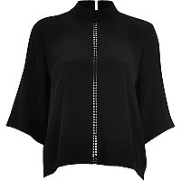 Black high neck detail top